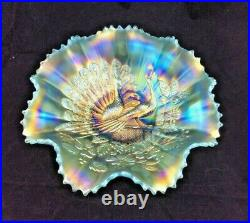 Northwoos Peacocks On Fence Aqua Opal Bowl Beautiful Rare Antique Ribbed Back