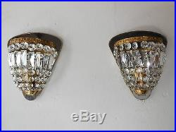 OLD French Crystal Prisms Bronze Sconces Empire Rare Beautiful Vintage Mirrors