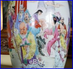 Old Rare Antique Beautiful Mirror Pair Chinese Porcelain Vases, Hand Painted 18