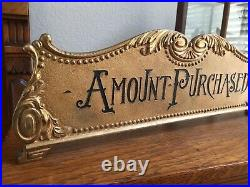 RARE Antique Cash Register Top'Amount Purchased' Sign 15 Beautiful FREE S/H