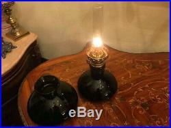 RARE Antique Danish Holmegaard kerosene Oil Lamp BEAUTIFUL Green Glass