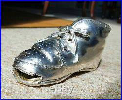 RARE BEAUTIFUL ANTIQUE SOLID SILVER LARGE LACED SHOE PIN CUSHION c1920