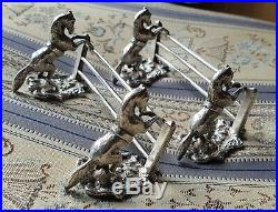 RARE BEAUTIFUL PAIR OF VICTORIAN HORSES JUMPING A FENCE KNIFE RESTS c1900