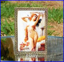 RARE BEAUTIFUL VICTORIAN 18ct GOLD PLATED NUDE LADY RECTANGLE SNUFF BOX c1900
