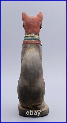 RARE EGYPTIAN CAT Antique EGYPT BASTET GODDESS BEAUTIFUL STATUE STONE BC