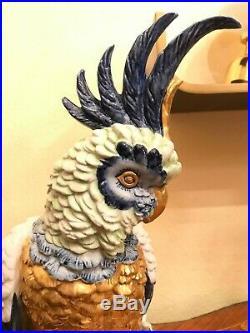 RARE HUGE 47,5CM BEAUTIFUL Italian Capodimonte Parrot Figure Goldplated