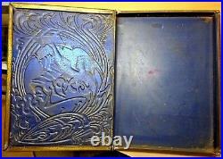 RARE c1920 STUNNING Art Nouveau Antique Tin Book Box BEAUTIFUL Metal HIDDEN