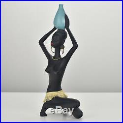 Rare 1950s Cortendorf Pottery Ceramic Sculpture Figurine African Beauty MCM