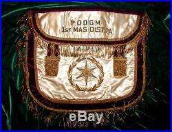 Rare ANTIQUE MASONIC 1924 PAST DISTRICT DEPUTY GRAND MASTER APRON! Ornate BEAUTY
