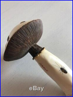 Rare And Beautifully Carved Antique Shibayama Mushroom