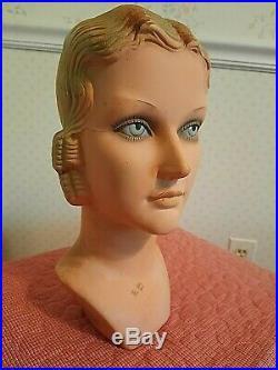 Rare Antique 1920's FLAPPER Mannequin Torso American Beauty