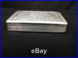 Rare Antique Beautiful Bible Scene Austrian Solid Silver Heavy Snuff Box 1800's