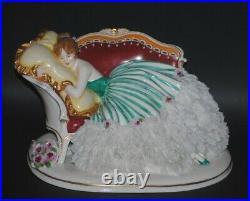 Rare Antique German Dressel & Kister Passau Dresden Lace Porcelain Beauty Figure