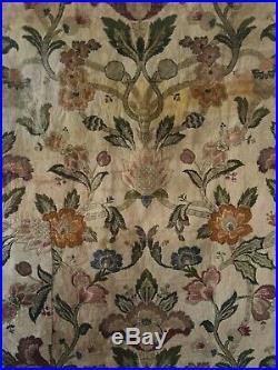 Rare Beautiful 19th C. French Woven Silk and Metallic Jacquard Fabric (3043)