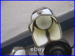 Rare Beautiful Antique Arts & Crafts Beige 5 Light Curved Slag Glass Chandelier