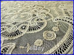 Rare & Beautiful Antique Belgian Princess Lace Tablecloth 70x108