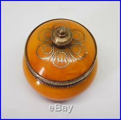 Rare Beautiful Antique Chinese Export Amber Butterscotch & Brass Pot