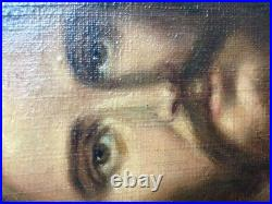 Rare Beautiful Antique Oil Painting Canvas Jesus Christ Religious Christianity