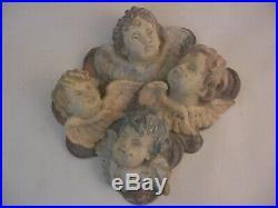 Rare Beautiful Hand Carved Wood Polychrome Cherub Putti Busts Vintage Italian