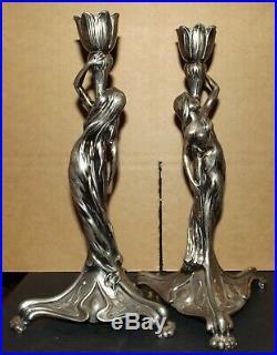 Rare Beautiful Pair B&G Imperial Zinn Art Nouveau Maiden Candlesticks c. 1900