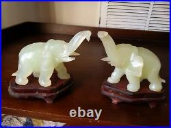 Rare Beautiful Pair of Light Green Jade Elephants on nice Wood Stands/Platforms