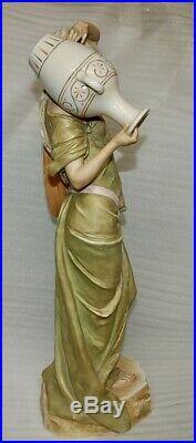 Rare Beautiful Very Tall Art Nouveau Antique Royal Dux Water Carrier Girl 20
