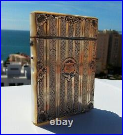 Rare Beautiful Victorian Solid Silver & Floral Mother of Pearl Card Case c1880