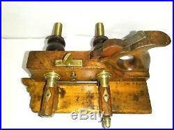 Rare antique GREENSLADE BRASS ARM BEECH PLOUGH PLANE +9 irons restored beautiful