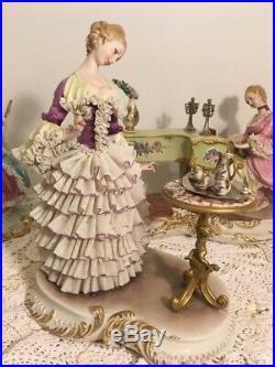Rare beautiful Capodimonte Giuseppe Cappe lady having tea figurine