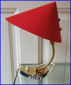 Rare beautiful Kalmar Mid Century bedside lamp bras base fabric shade vintage