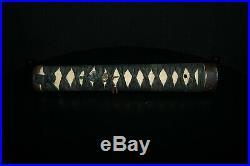 Rare signed beautiful antique Edo tsuka katana samurai sword silver inlay