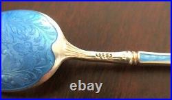 STUNNING Sterling Silver 925 Enamel Guilloche 6 Spoon Set NorwayRAREBeautiful
