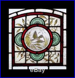 The Most Beautiful Rare Painted Bird Antique English Stained Glass Window