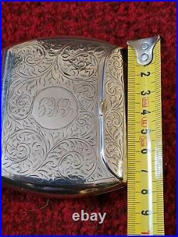 Unusual Walker & Hall 1915 Solid Silver Cigarette Case Beautiful 93.6g RARE