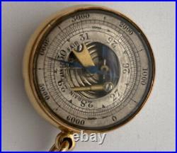 V Rare Antique 18k Pocket Barometer & Compass Beautiful Case