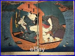 Very rare! Kunisada's Shunga Book. Very beautiful and precise expression