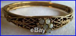 Victorian Antique Dainty Gold filled Flower Hinge Bangle Bracelet Rare Beauty