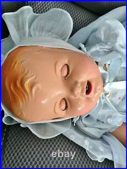 Vintage 1930's Ideal Cuddles BIG Rare 27 Sally-kins happy Beautiful Baby Doll