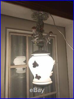 Vintage Italian LAMP Capodimonte porcelain PUTTI figural RARE! & BEAUTIFUL 23