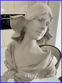Vintage Rare Beautiful Art Deco Nouveau Girl Statue Bust Signed